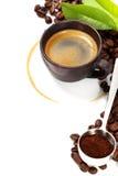 Tazza di caffè con la macchia del caffè immagine stock libera da diritti