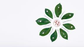 Tazza di caffè creativa con il fondo di arte della mandala dei fiori Messa a punto floreale del cappuccino di buongiorno fotografia stock libera da diritti