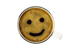 Tazza di caffè dalla cima con il sorriso, isolato Immagini Stock