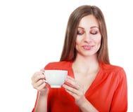 Tazza di caffè della donna immagine stock