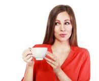 Tazza di caffè della donna fotografia stock libera da diritti