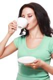 Tazza di caffè della donna fotografia stock