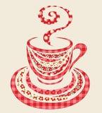 Tazza di caffè della rappezzatura 1. Fotografie Stock