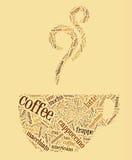 Tazza di caffè delle parole Fotografia Stock Libera da Diritti