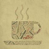 Tazza di caffè delle parole illustrazione di stock