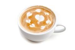 Tazza di caffè di arte del latte molta forma del cuore sull'iso bianco del fondo Fotografia Stock Libera da Diritti