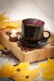 Tazza di caffè di autunno Fotografia Stock Libera da Diritti