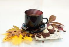 Tazza di caffè di autunno Fotografie Stock Libere da Diritti