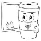 Tazza di caffè di carta di coloritura con la lavagna Fotografie Stock Libere da Diritti