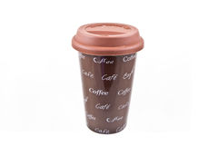 Tazza di caffè di ceramica con il coperchio della gomma Fotografia Stock Libera da Diritti