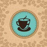 Tazza di caffè di vettore sull'etichetta blu Immagini Stock Libere da Diritti