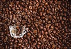 Tazza di caffè disegnata a mano sul fondo dei chicchi di caffè con il posto per testo Progettato come fondo per i buoni, il menu, Fotografie Stock Libere da Diritti