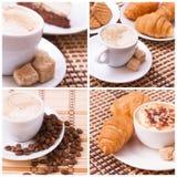 Tazza di caffè, dolci, croissant e semi di cacao torrefatti Concetto del caffè Fotografie Stock
