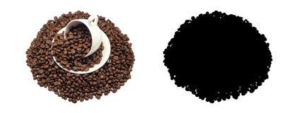 Tazza di caffè e caffè dei fagioli Fotografia Stock