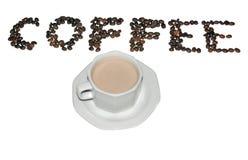 Tazza di caffè e caffè scritti con i fagioli Fotografie Stock