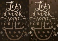 Tazza di caffè e calligrafia Fotografia Stock Libera da Diritti