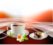Tazza di caffè e cheasecake Fotografie Stock Libere da Diritti