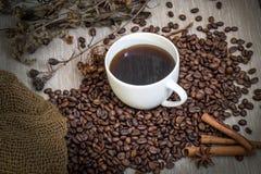 Tazza di caffè e chicchi di caffè Fotografie Stock Libere da Diritti