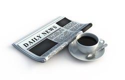 Tazza di caffè e del giornale Fotografie Stock Libere da Diritti