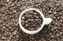 Tazza di caffè e fondo dai fagioli Immagine Stock Libera da Diritti