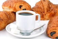Tazza di caffè e pasticcerie fotografie stock