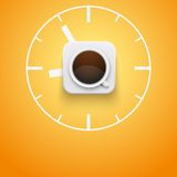 Tazza di caffè e tempo del fondo Vettore Immagini Stock