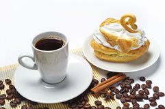 Tazza di caffè e torta Fotografia Stock Libera da Diritti