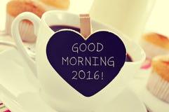 Tazza di caffè ed il buongiorno 2016 del testo Fotografia Stock Libera da Diritti