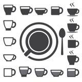 Tazza di caffè ed insieme dell'icona della tazza di tè. Illustrazione Fotografia Stock