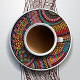 Tazza di caffè ed ornamento floreale disegnato a mano Immagini Stock