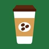 Tazza di caffè eliminabile con i chicchi di caffè Fotografie Stock