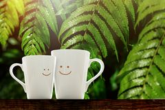 Tazza di caffè felice dell'amante con il fronte sorridente, la felicità e romantico Fotografia Stock