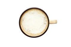 Tazza di caffè isolata sulla vista bianco- dalla cima Immagine Stock