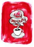Tazza di caffè macchiato su fondo acrilico rosso dipinto Immagine Stock