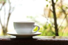 Tazza di caffè macchiato sul fondo di autunno immagini stock libere da diritti
