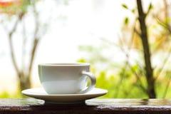 Tazza di caffè macchiato sul fondo di autunno immagini stock
