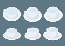 Tazza di caffè macchiato sul piattino su fondo grigio illustrazione vettoriale