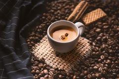 Tazza di caffè in mezzo ai chicchi di caffè con i biscotti e la tovaglia Prodotto granuloso Bevanda calda Fine in su Raccolta Nat immagine stock libera da diritti