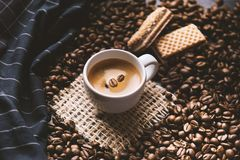 Tazza di caffè in mezzo ai chicchi di caffè con i biscotti e la tovaglia Prodotto granuloso Bevanda calda Fine in su Raccolta Nat fotografia stock