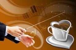 Tazza di caffè musicale Fotografia Stock Libera da Diritti