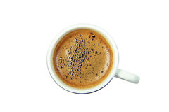 Tazza di caffè nera dal superiore isolata su bianco Fotografie Stock Libere da Diritti