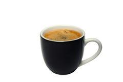 Tazza di caffè nera isolata su fondo bianco fotografia stock