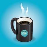Tazza di caffè nero su fondo blu. Immagine Stock
