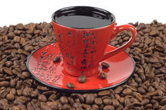 Tazza di caffè orientale rossa e nera Fotografia Stock Libera da Diritti