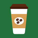 Tazza di caffè piana dell'icona con i chicchi di caffè Fotografia Stock Libera da Diritti