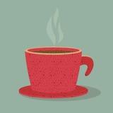 Tazza di caffè rossa. Immagini Stock