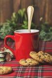 Tazza di caffè rossa, biscotti della vaniglia con di pepita di cioccolato Fotografia Stock Libera da Diritti