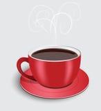 Tazza di caffè rossa perfetta con vapore Vettore Fotografia Stock Libera da Diritti