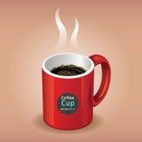 Tazza di caffè rossa su fondo marrone. Immagini Stock