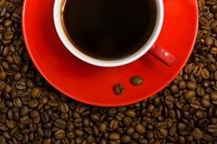 Tazza di caffè rossa sui fagioli. Immagine Stock